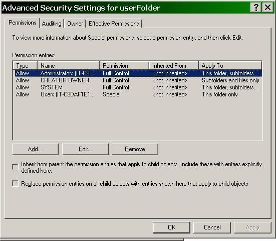 ITAdminTools com: Folder Redirection - Resetting Permissions