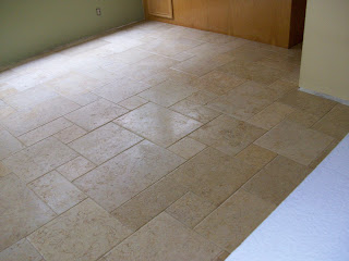 Tumbled Travertine Tiles Set On A Versailles Pattern