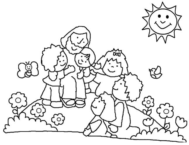 Dibujos Para Colorear De Jesus Bendice Alos Niños Imagui