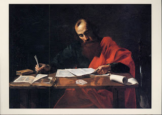St. Paul Writing His Epistles by Valentin de Boulogne or Nicolas Tournier
