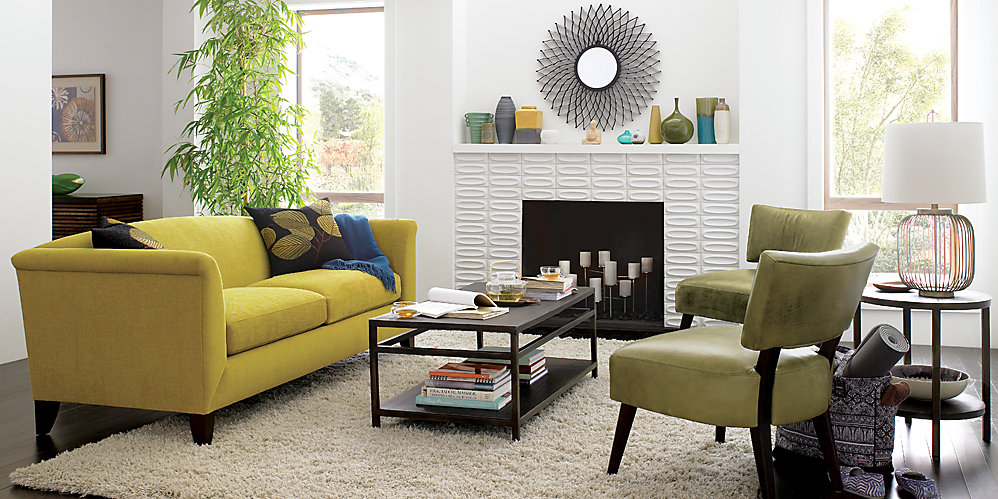 Creative influences color obsession sage - Crate and barrel living room ideas ...