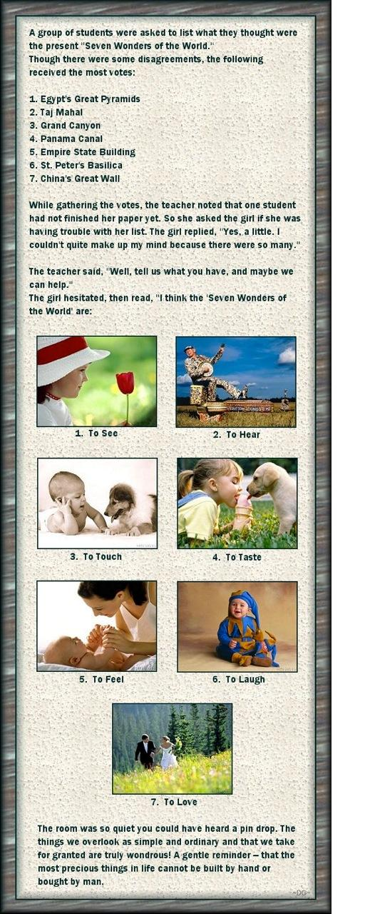 seven wonders of the world lesson from a child