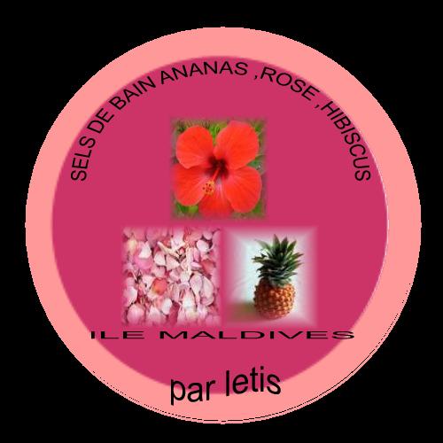 mes produits de beaut fait maison sels de bain ananas rose hibiscus. Black Bedroom Furniture Sets. Home Design Ideas