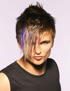 къса коса с дълъг бретон на цветни кичури