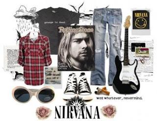 Acima, alguns dos ítens básicos de um look grunge original. Tênis All Star,  camisa xadrez, calça jeans detonada e uma camiseta gasta. Fumava-se muito! 6d36bd96f0