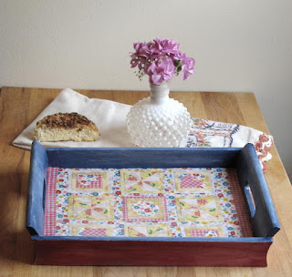 Mod Podge Fabric Tray--Transform a flea market find into a charming home decor item