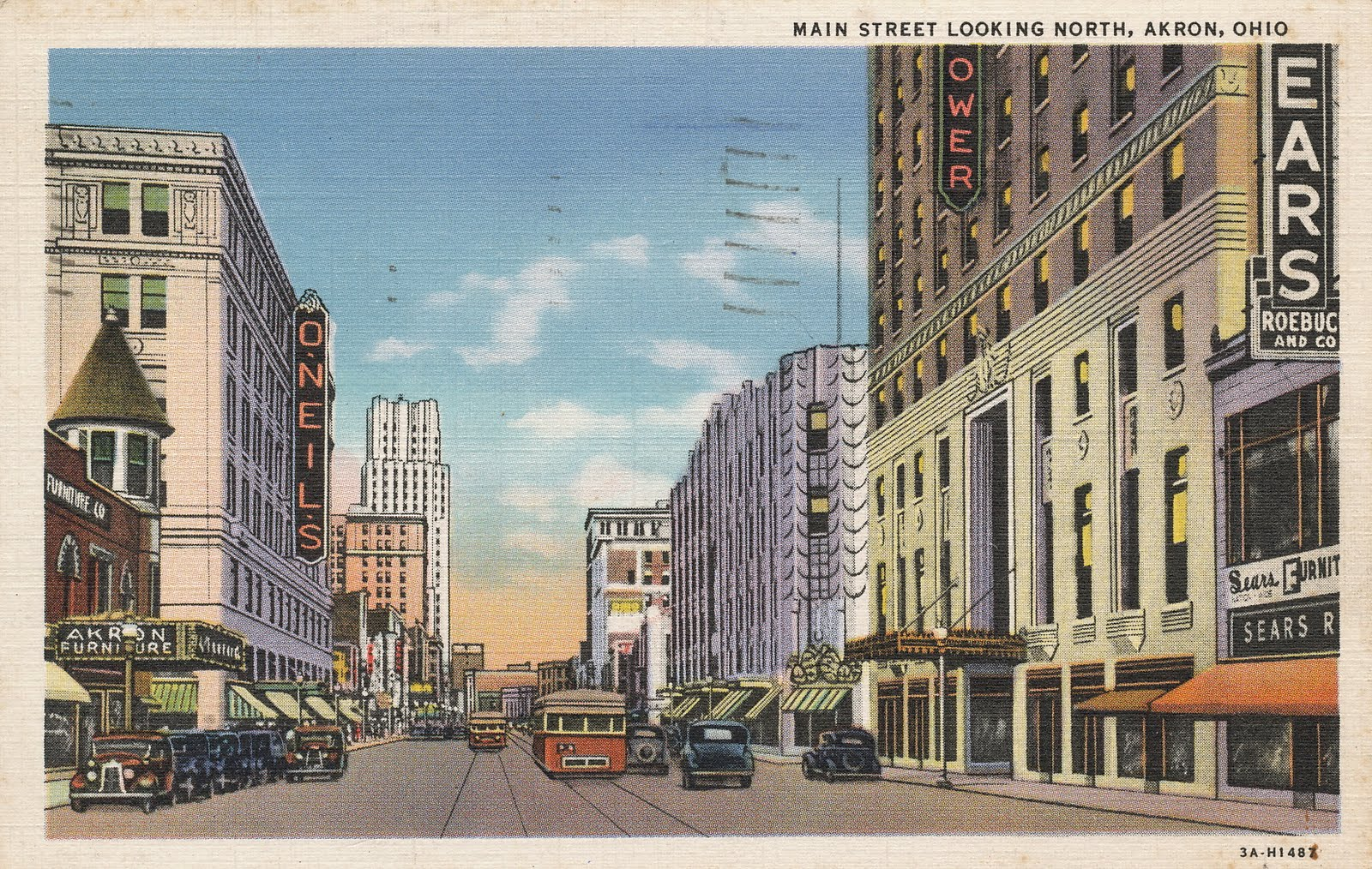 akron ohio street main streetcar north postcard sunday looking streetcars early electric