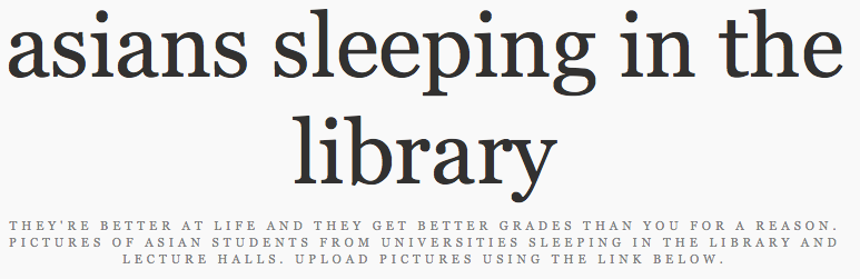 Asians Sleeping In The Library Is A Racist Website