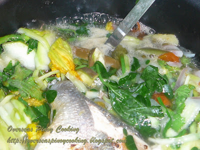 Dinengdeng, Green Leafy Version - Cooking Procedure