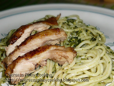 Pili Nut Pesto Spaghetti with Chicken Barbecue