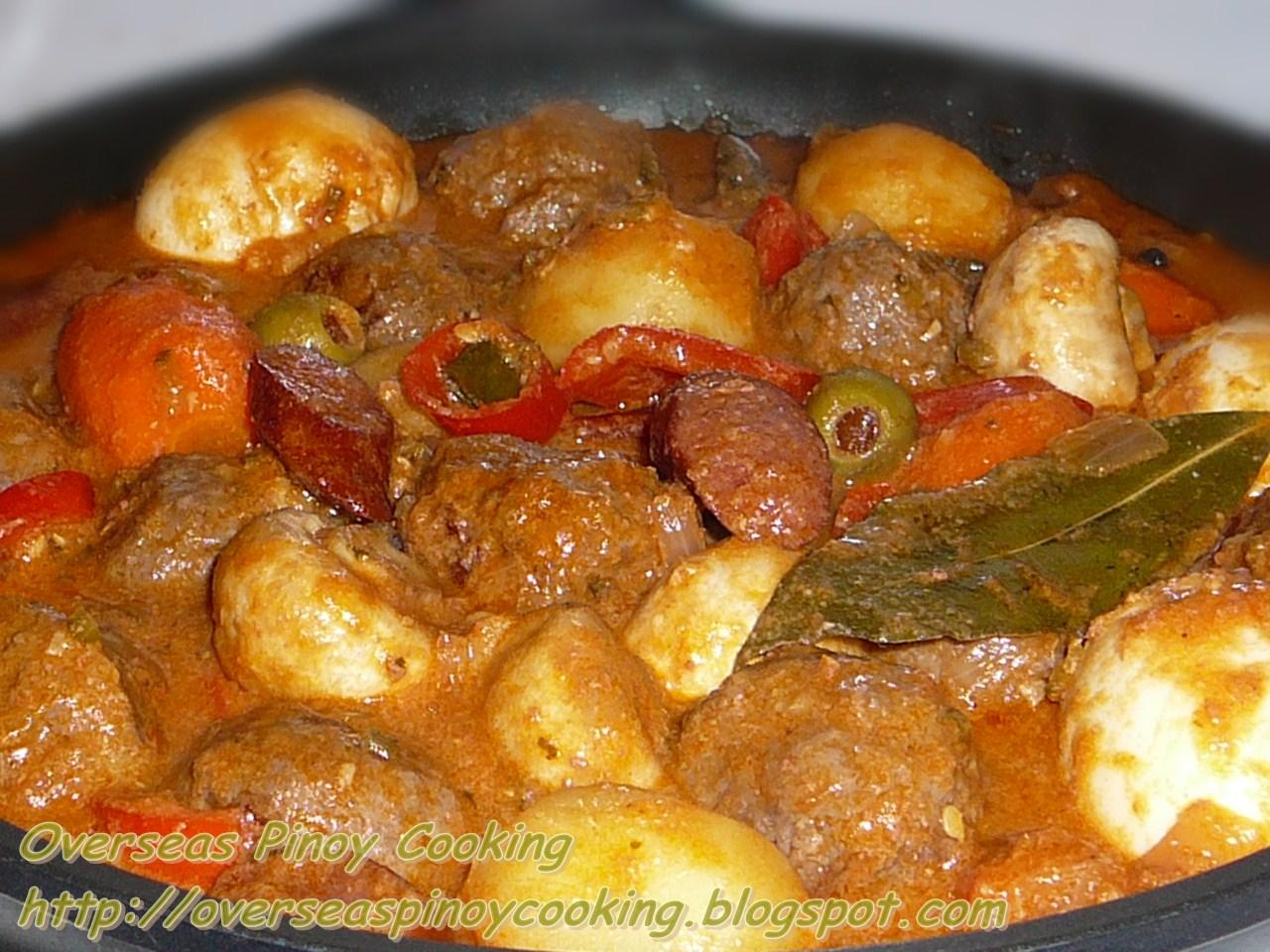 Overseas Pinoy Cooking: Beef Meatballs Kaldereta