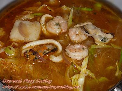 Seafood Sotanghon Noodle Soup