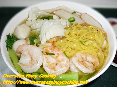Seafood Noodle Soup with Yellow Flat Noodles