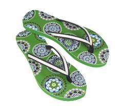 colorful flip flops, green sandals