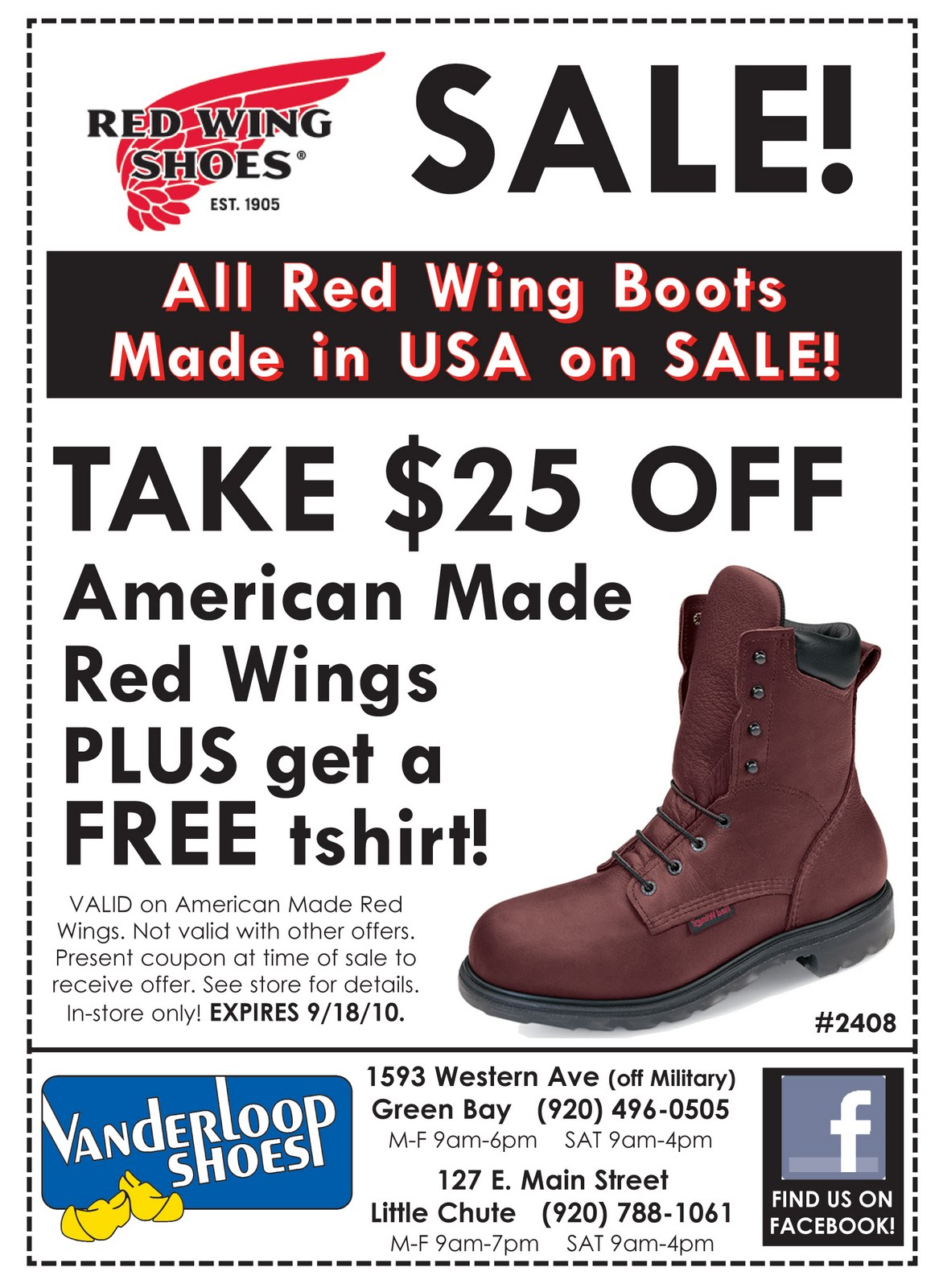 Little Chute Wi >> Vanderloop Shoes Inc: Red Wing Labor Day Sale NOW-Sept 18th!!!