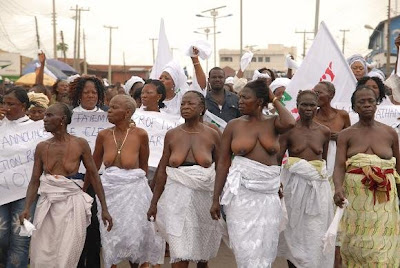Ekiti State women in peaceful protest with bare chests