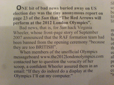 Sun Hack Virginia Wheeler had announce the RED Arrows had been banned from the Olympics opening ceremony for being too British. But They will. When they do, Virginia has said she will eat her computer