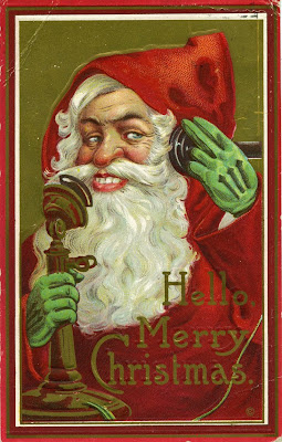 1914 Christmas Card--Telephone Santa