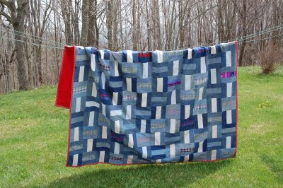Denim pieced coverlet, with backing and binding