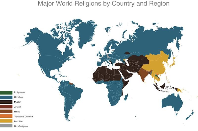 DAI523 SFSU: Data Visualization: World Religion Data