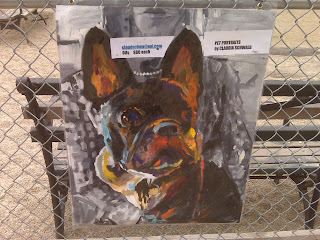 rench bulldog painting in washington square park dog run, nyc