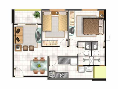 Planos de vivienda de 57m2 planos de casas gratis y for Diseno minidepartamento