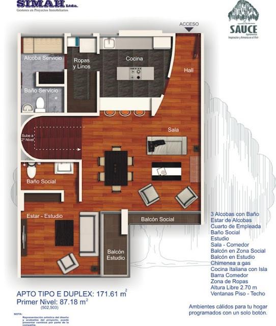 Planos de duplex penthouse con 3 dormitorios planos de for Modelos de mini departamentos