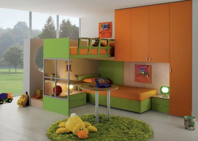 Dormitorio infantil en verde naranja y madera de color - Dormitorio verde ...