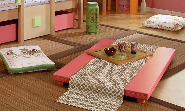 Dormitorio oriental infantil for Mesa japonesa tradicional
