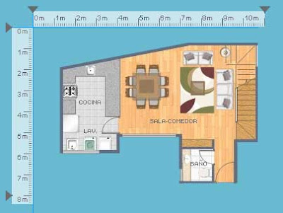 Plano de departamento duplex de 103m2 con 2 dormitorios for Comedor 20 metros cuadrados