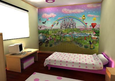 Dormitorio de castillos hadas y princesas for Murales adhesivos