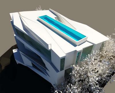 Fachada de casa minimalista con piscina en el ultimo piso for Casa minimalista lima