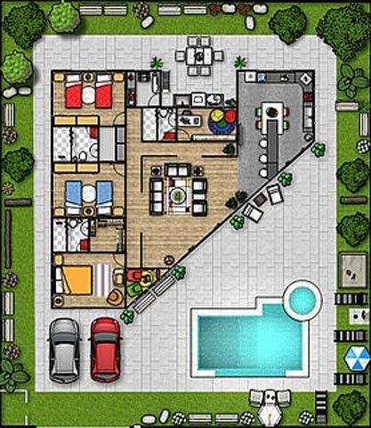 Plano de casa grande triangular de una sola planta 3 - Terreno con casa ...