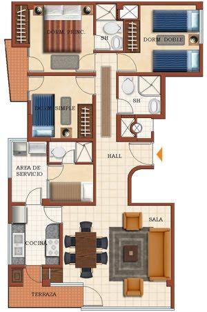 Planos de departamentos en edificio frente al mar de 8 for Dormitorio 6 metros cuadrados