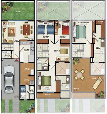 Plano de casa de 160m2 3 pisos 4 dormitorios planos de for Piso 60 metros cuadrados 3 habitaciones