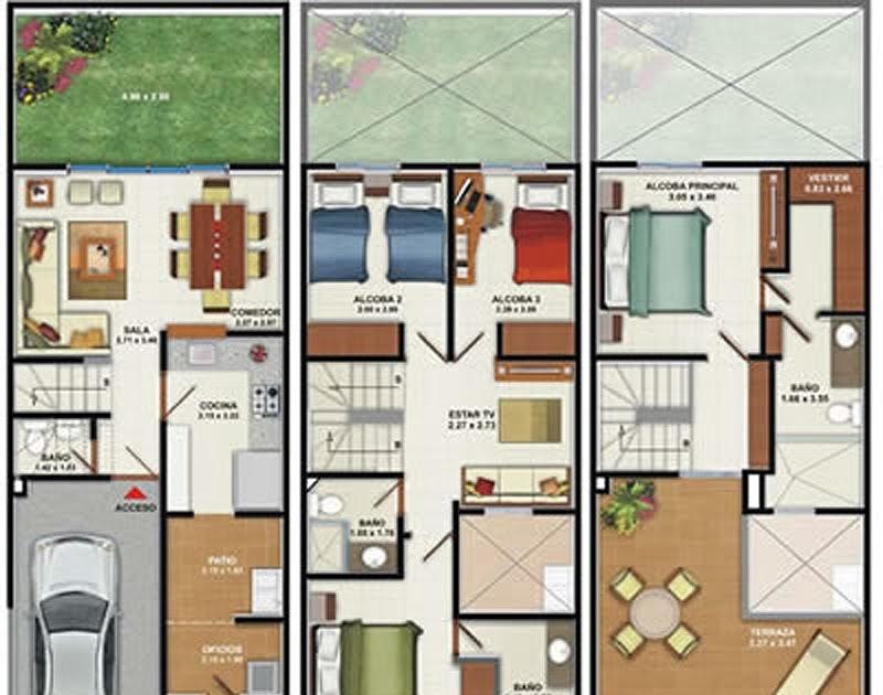 Plano de casa de 160m2 3 pisos 4 dormitorios planos de casas gratis y modernas - Planos de casas pareadas ...