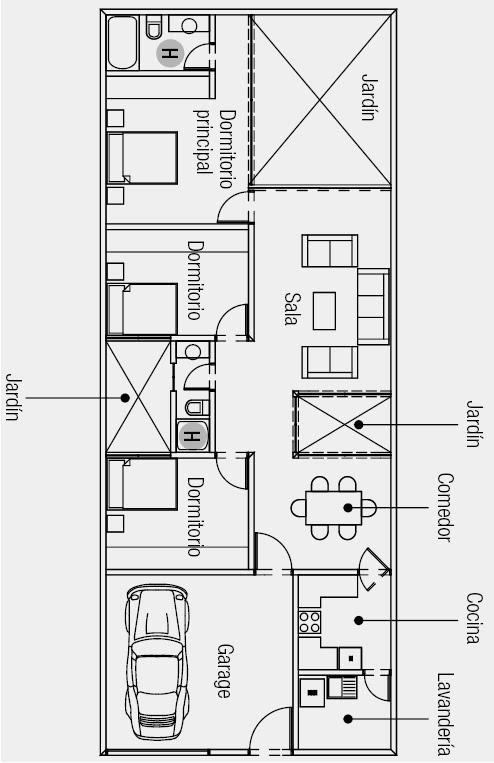 plano de casa de una sola planta m de terreno