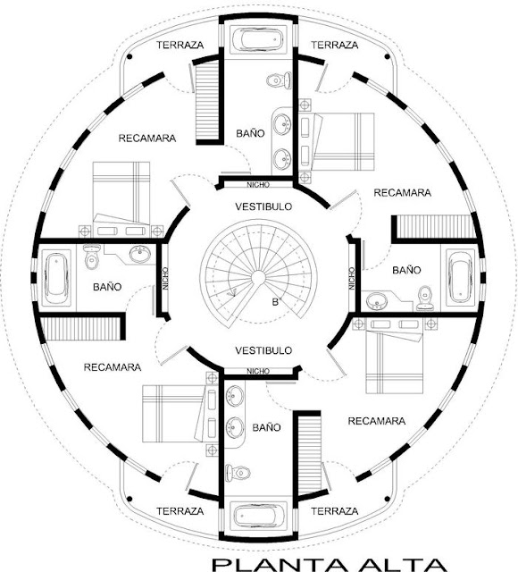 Planos circulares planos de casa circular planos de for Ejes arquitectonicos