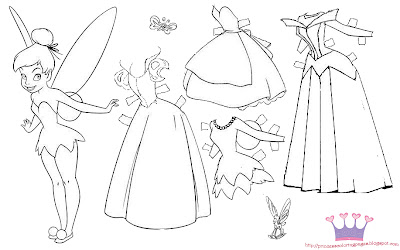 princess paper dolls coloring pages - photo#6