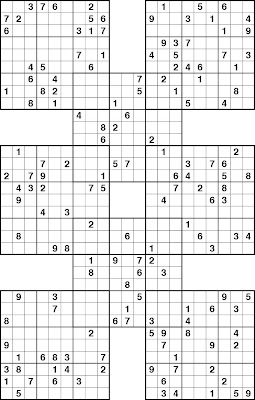 graphic relating to Sudoku Samurai Printable identify sudoku for youngsters printable: Very simple Samurai Sudokueasy Samurai