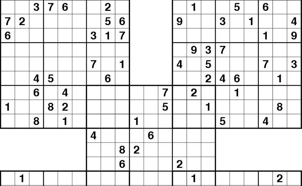 image about Printable Sudoku Samurai identified as samurai sudoku printable: Printable Sudokuhard