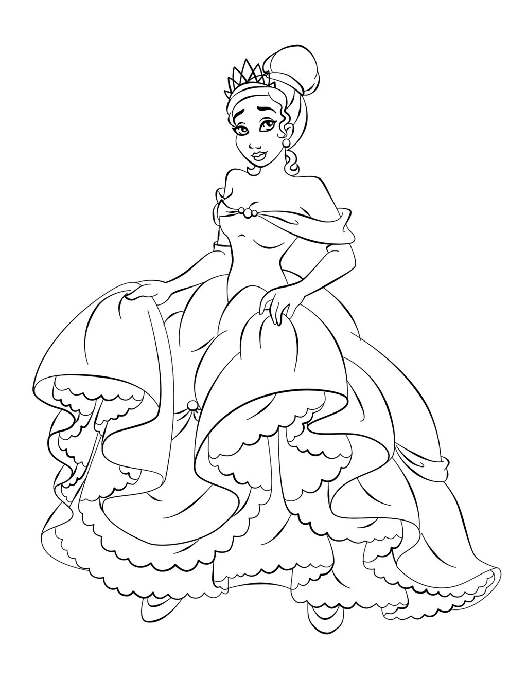 Princess Coloring Pages Brings You A Coloring Page Of Tiana From The