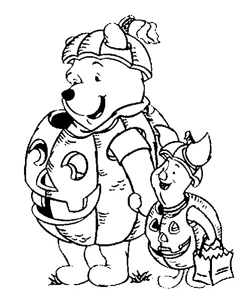 DISNEY HALLOWEEN COLORING PAGES WITH WINNIE, PIGLET AND ...