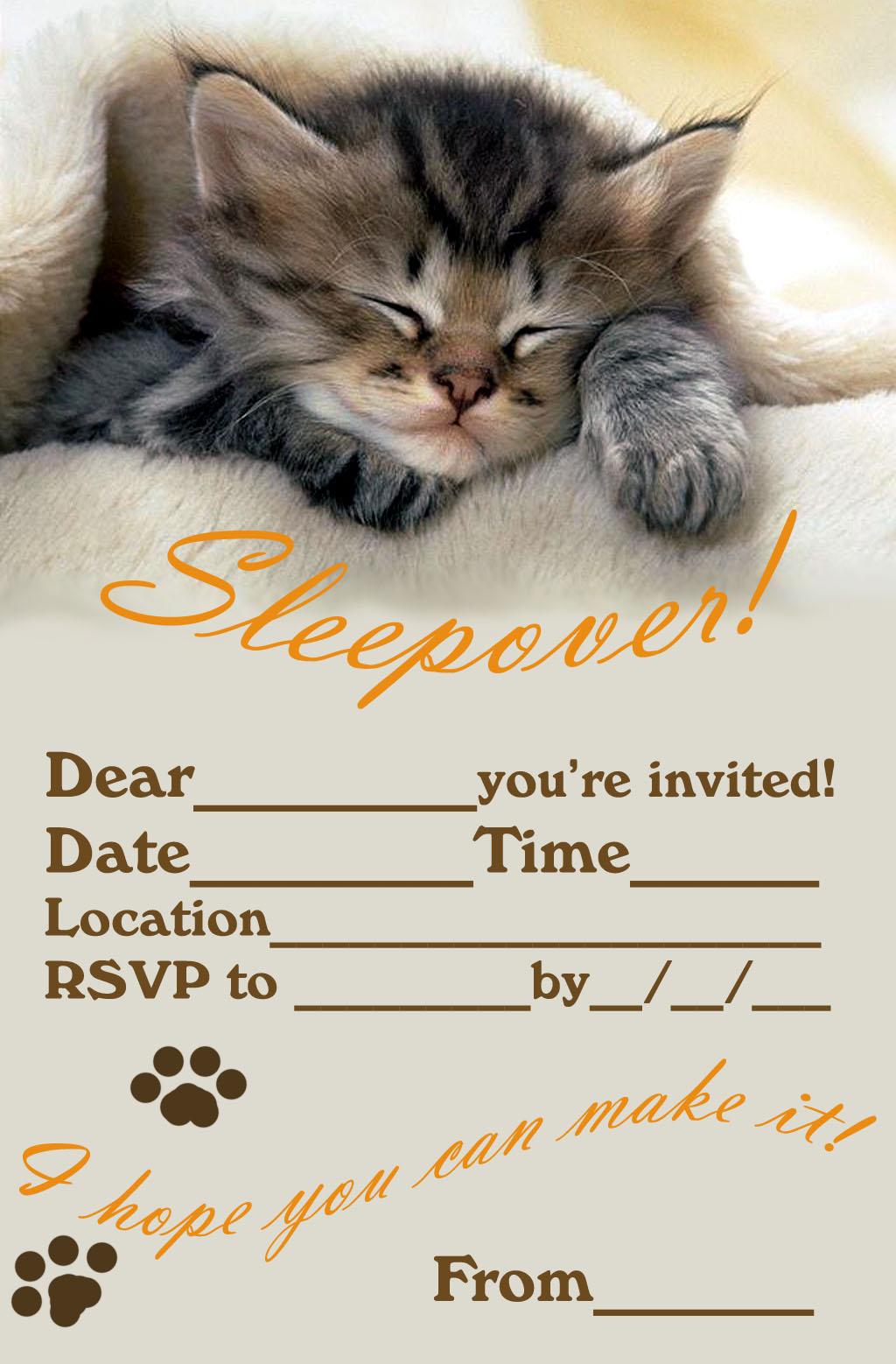 slumber party invitations free printable