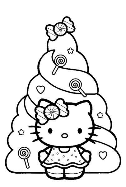 hello kitty christmas coloring pages | HELLO KITTY COLORING PAGES