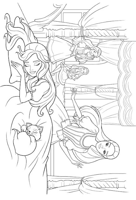 BARBIE COLORING PAGES: BABRBIE PRINCESS PRINT AND COLOUR