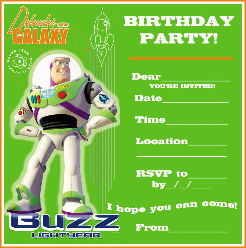 TOY STORY FREE PRINTABLE PARTY INVITATION BUZZ LIGHTYEAR