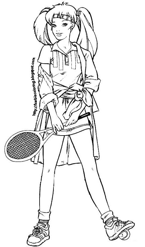 BARBIE COLORING PAGES: BARBIE DANCER, TENNIS PLAYER AND ON
