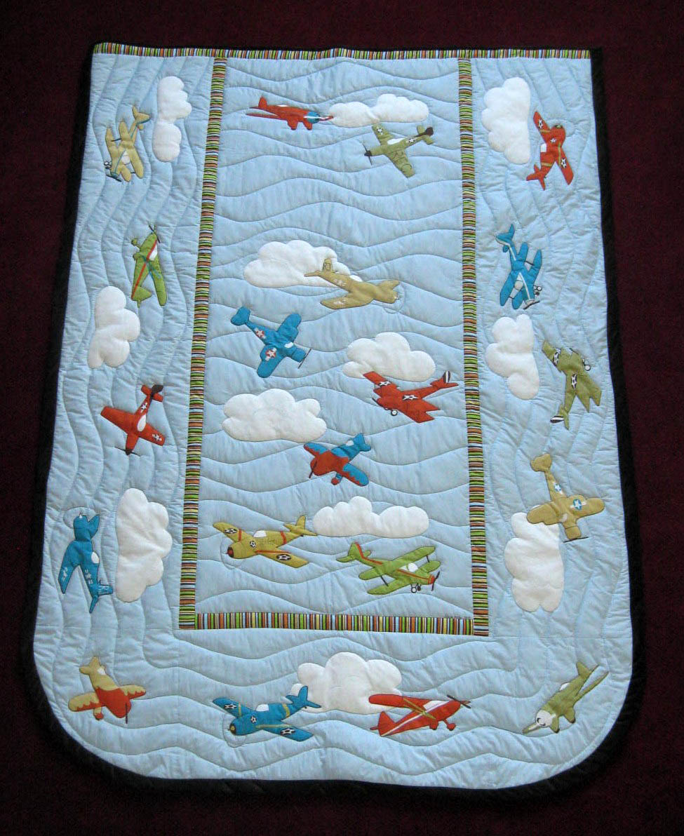 Running With Scissors Mom Feature Airplane Applique Quilt