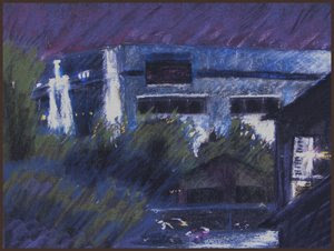 Houston Texas pastel apartment Kath Schifano Kathy  night Painting